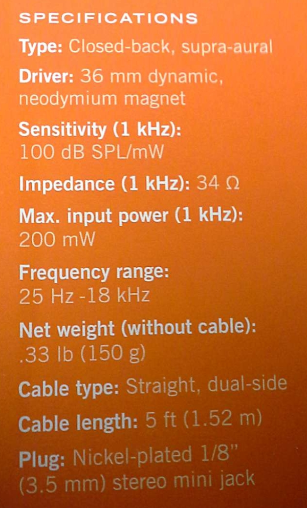 specifications for the Shure SRH 145 headphones - from the back of their box